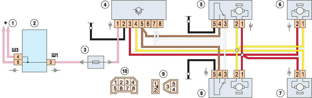 Схема управления центрального замка ваз 2110