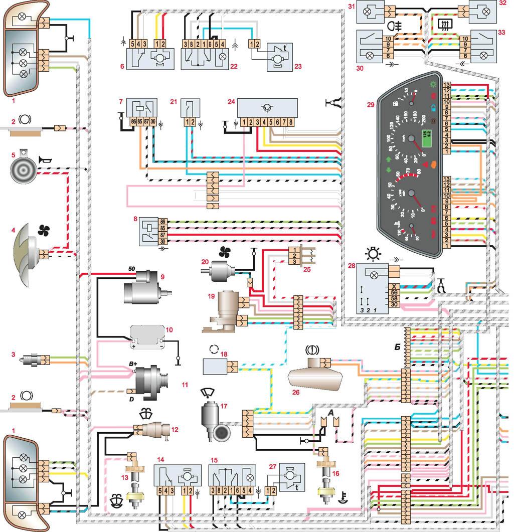 схема проводки жгутов ваз 2110